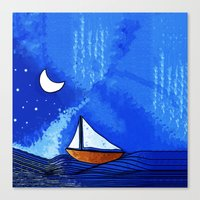 sailing Canvas Prints featuring Sailing by Brontosaurus