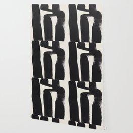 Mid Century Modern Minimalist Abstract Art Brush Strokes Black & White Ink Art Ancient Stripes Wallpaper