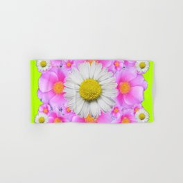 Chartreuse Green Color Shasta Daisies & Rose Pattern Hand & Bath Towel