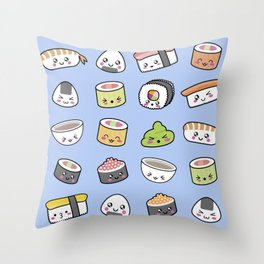 Happy kawaii sushi pattern Throw Pillow