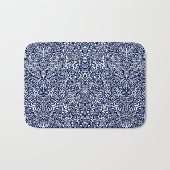 Detailed Floral Pattern in White on Navy Bath Mat
