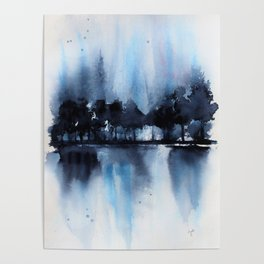 Blue Tree Reflections Poster