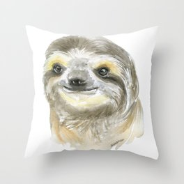 Sloth Face Watercolor Painting Animal Art Throw Pillow