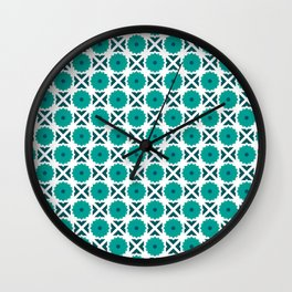 Flowers and spikes – turquoise Wall Clock
