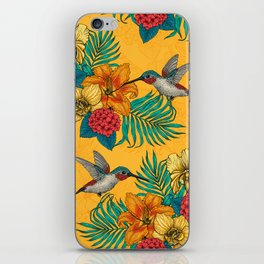 Hummingbirds and tropical bouquet in yellow iPhone Skin