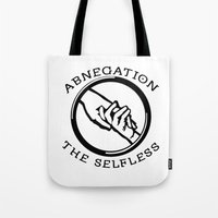 divergent Tote Bags featuring Divergent - Abnegation The Selfless by Lunil