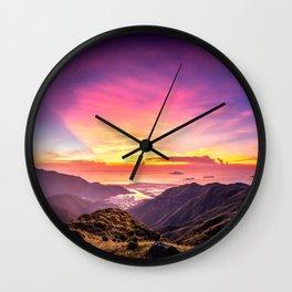 Sunset on Sunset Peak Wall Clock