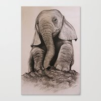 baby elephant Canvas Prints featuring Baby Elephant by haleyivers