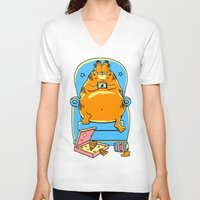 garfield V-neck T-shirts featuring garfield by Vincent Trinidad