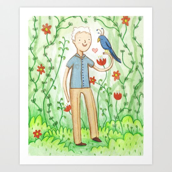 Sir David Attenborough & a Parrot Art Print