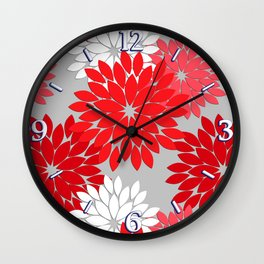 Modern Floral Kimono Print, Coral Red and Gray Wall Clock