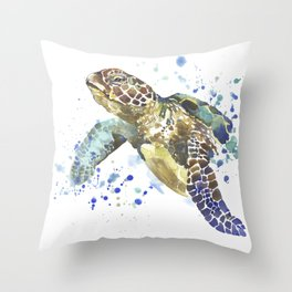 Abstract Watercolor Sea Turtle on White 2 Minimalist Coastal Art - Coast - Sea - Beach - Shore Throw Pillow