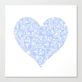 Floral Heart Design Blue and White Canvas Print