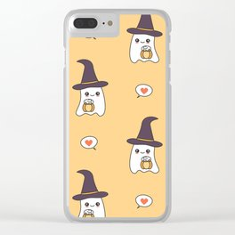 cute cartoon ghosts with pumpkins pattern background Clear iPhone Case