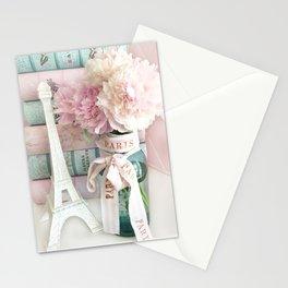 Shabby Chic Eiffel Tower Paris Peonies  Stationery Cards