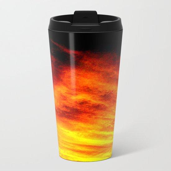 Black Yellow Red Sunset Metal Travel Mug