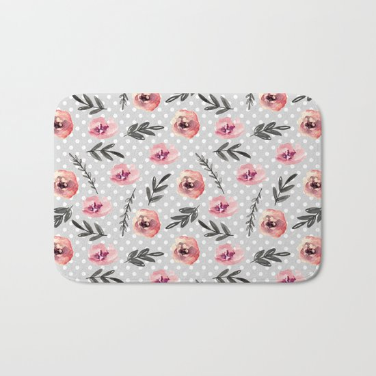 Red flowers. Watercolor Bath Mat