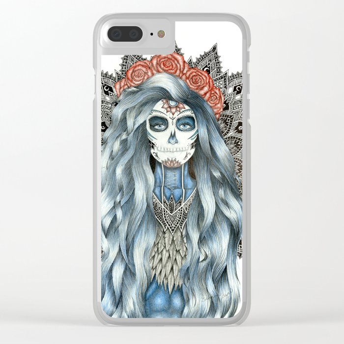 Day of the Dead Woman Mandala Clear iPhone Case