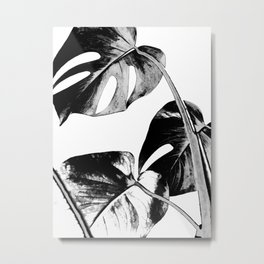 Black monstera leaves watercolor Metal Print