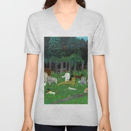 African American Masterpiece 'Holy Mountain III' by Horace Pippin Unisex V-Neck