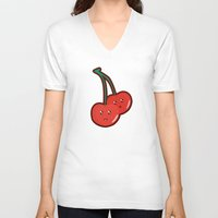 kawaii V-neck T-shirts featuring Kawaii Cherry by Nir P
