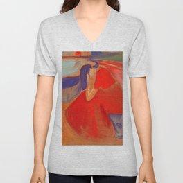 """Edvard Munch """"Melancholy"""" Unisex V-Neck"""