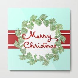 Merry Christmas striped wreath Metal Print