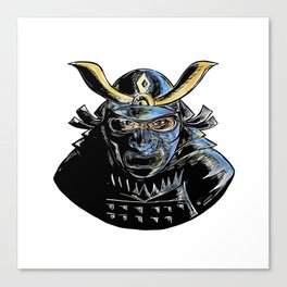 Samurai Wearing Armor Mask Mempo Woodcut Canvas Print
