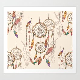 Bohemian dream catcher with beads and feathers Art Print