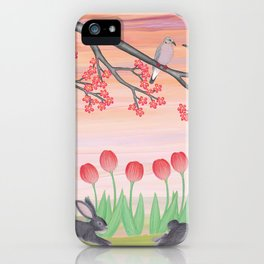 bunnies, tulips, and mourning doves iPhone Case