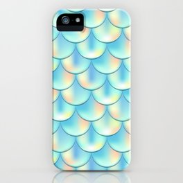 Teal Green Mermaid Pattern, Holographic Fish Scale Print iPhone Case