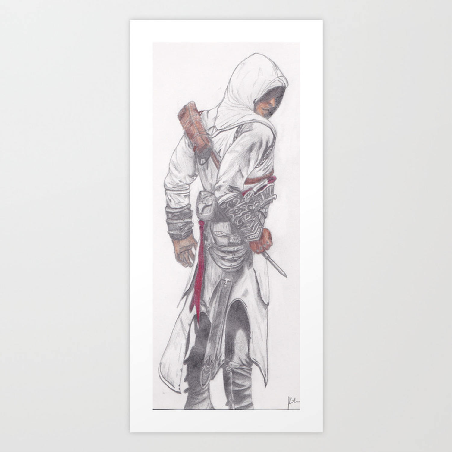 Altair Ibn La Ahad Assassin S Creed Pencil Drawing Art Print By