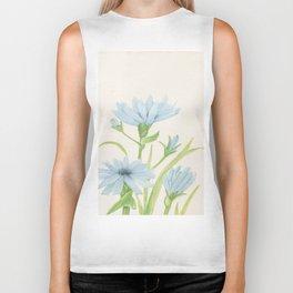 Watercolor Garden Flower Blue Cornflower Wildflower Biker Tank