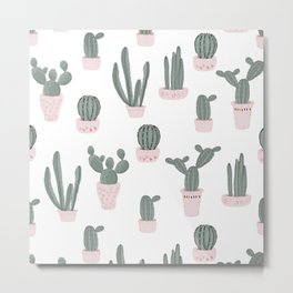 Elegant Cacti in Pots Pattern Metal Print