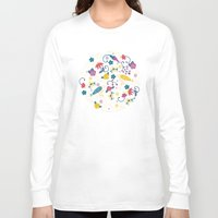 garden Long Sleeve T-shirts featuring Garden Birds by Anna Deegan