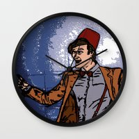 fez Wall Clocks featuring ain't never gonna do it without the fez on by Melvin Pena