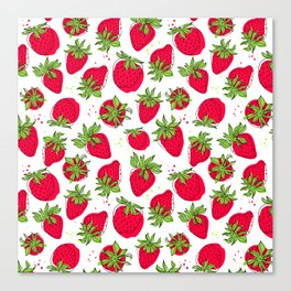 Juicy and ripe strawberries Canvas Print