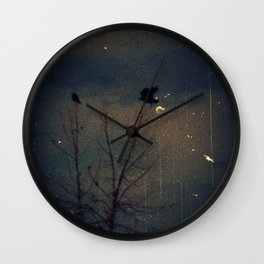 Raven's Gathering in the Blue Hour Wall Clock