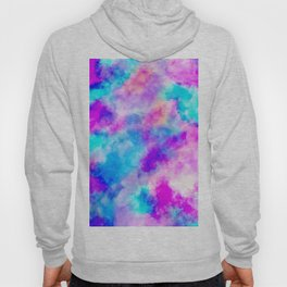 Modern hand painted neon pink teal abstract watercolor Hoody