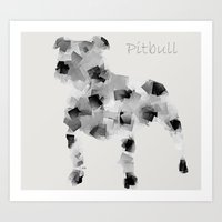 pit bull Art Prints featuring the pit bull dog  by bri.buckley