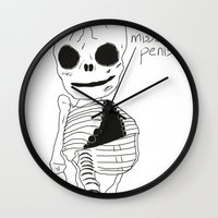 penis Wall Clocks featuring bonesy misses his penis by badNGO