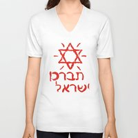 israel V-neck T-shirts featuring Bless Israel by biblebox