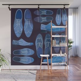 Blue Brogue Shoes for Hipsters & Gentlemen Wall Mural