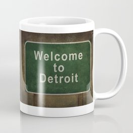 Welcome to Detroit highway road side sign Coffee Mug