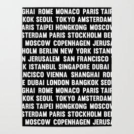Famous City pattern black & White Poster