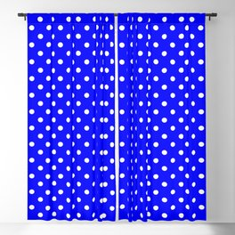 Polka dots White dots over blue Blackout Curtain