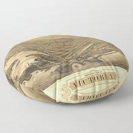 Bird's Eye View of Victoria, British Columbia, Canada (1878) Floor Pillow