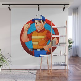 handyman wearing work clothes and a belt with tools. Wall Mural