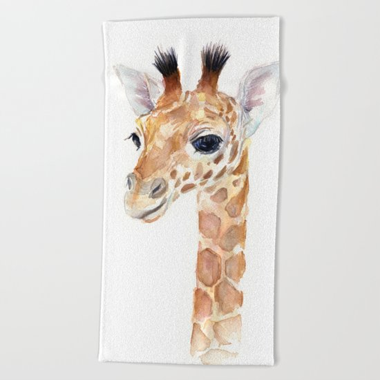 Baby Giraffe Cute Animal Watercolor Beach Towel