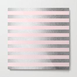 Stripes Moonlight Silver on Flamingo Pink Metal Print